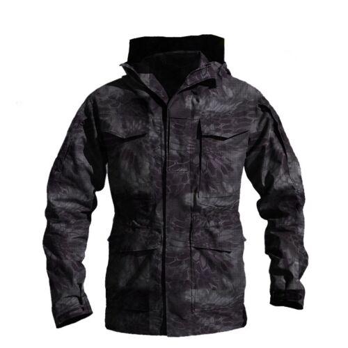Military Tactical Mens Jacket Combat M65 Field Coats Outdoor Hooded Waterproof
