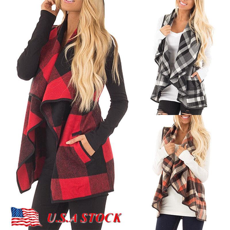 Women's Sleeveless Sweater Cardigan Waterfall Collar Coat Ja