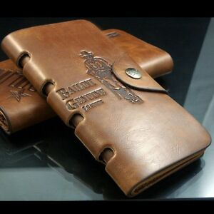 New-Mens-BROWN-Leather-Long-Wallet-Pockets-ID-Card-Clutch-Cente-Bifold-Purse