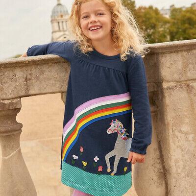 Applique Mädchen Kleid Baumwolle Kleidung Herbst Tiere Pferd Prinzessin - Mädchen Tier Kostüm Kleid