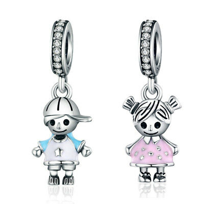 Wostu 925 Sterling Silver little Boy And Girl Dangle Charms Best Friend Charm US