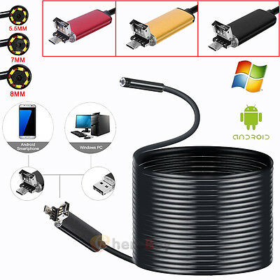 5M 2in1 6LED Android Endoscope Waterproof Inspection Camera USB Video Camera