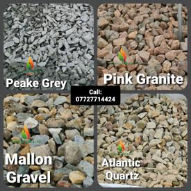 Decorative stone, sand, gravel, bark for sale