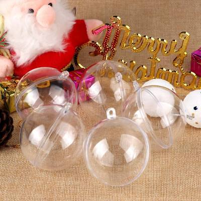 50x Clear Plastic Ball Baubles Christmas Tree Ornament Candy Box Wedding Favors ()