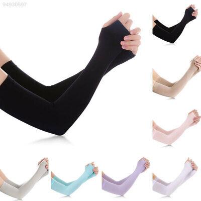 Unisex Summer Ice Silk Cool Anti UV Sun Protect Long Sleeve Fingerless Gloves (Long Silk Gloves)