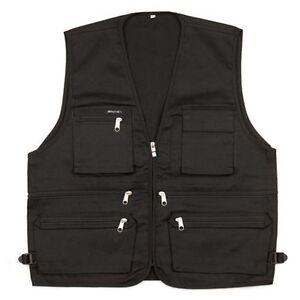 Mens Sleeveless Utility Multi Pocket Zip Hunting Fishing Shooting Outdoor Vest