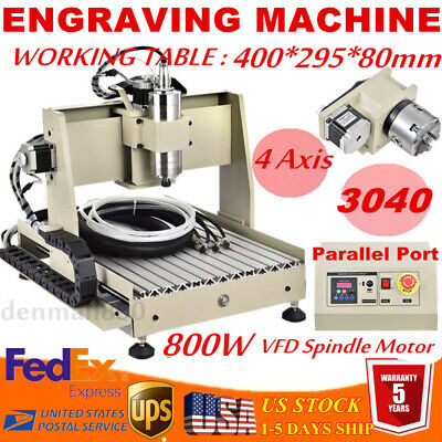4 Axis Pro Cnc 3040 Router Engraver 3d Wood Milling Carving Machine 800w Vfd Ups