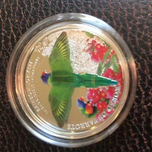 Silver, coin,3D, STERLING SILVER, RAINBOW LORIKEET, RCM, RARE