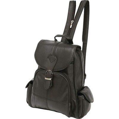 Black Solid Genuine Leather BACKPACK Shoulder Straps Sling Purse Handbag Tote
