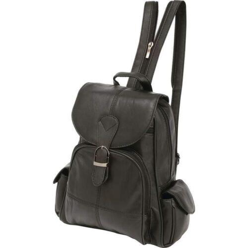 Black Solid Genuine Leather BACKPACK Shoulder Straps Sling