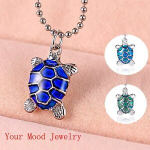 Hot Rhinestones Turtle Color Change Thermo Mood Pendant Necklace Friends Gift