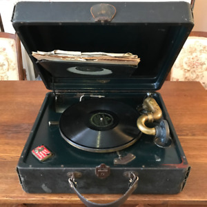 Antique working portable phonograph