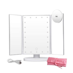 Makeup Mirror - 22 Led Lights Trifold Touch Screen 180 Degree