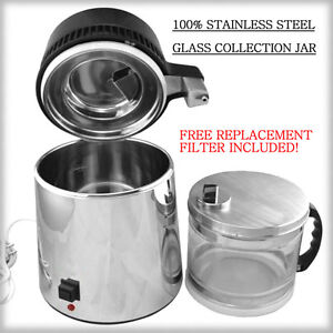 New 2017 Stainless Steel Water Distiller w/ Glass Collection Jar FREE 2nd Filter