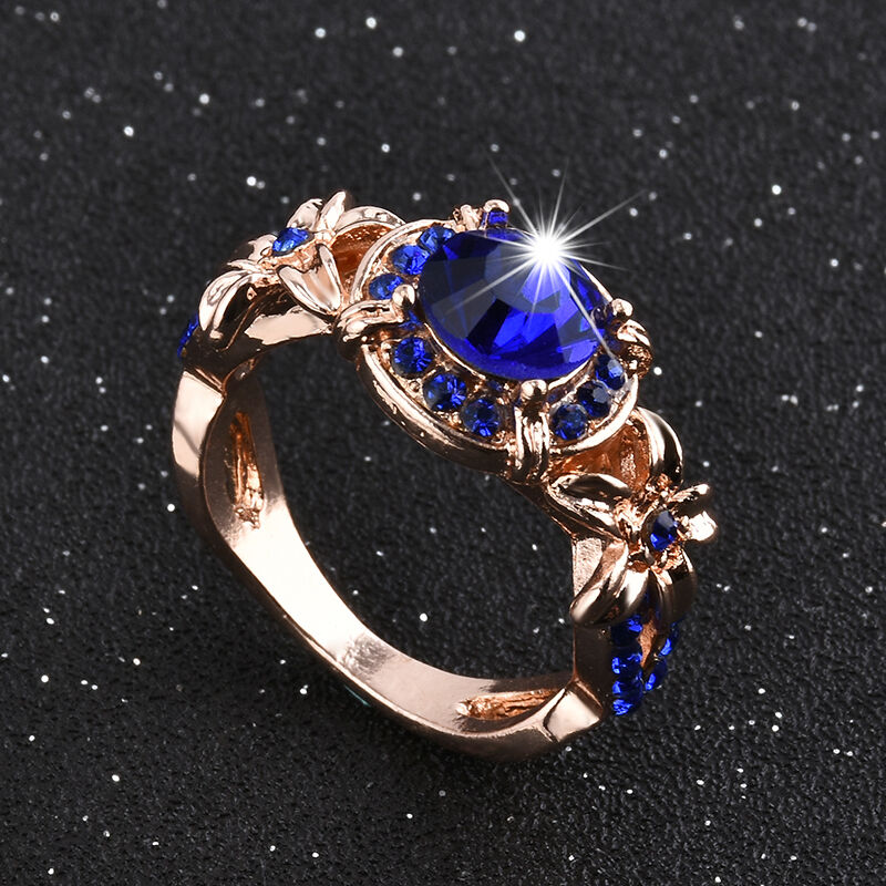 Women Blue Sapphire Rose Gold Filled Engagement Ring Size 5 11 Rings Jewelry