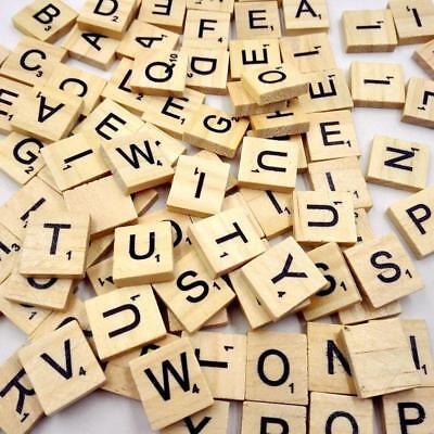 100PCS Wholesale Wooden Alphabet Tiles Black Letters For Scrabble Children - Alphabet Tiles