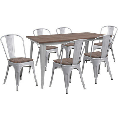 30.25 X 60 Silver Metal Restaurant Table Set With Walnut Wood Top And 6 Chairs