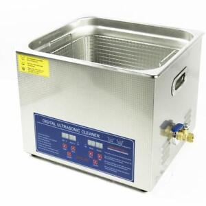 Commercial 110v Ultrasonic Cleaner 15L Large Capacity with Heater and Digital Timer for Electronic Tool 020274