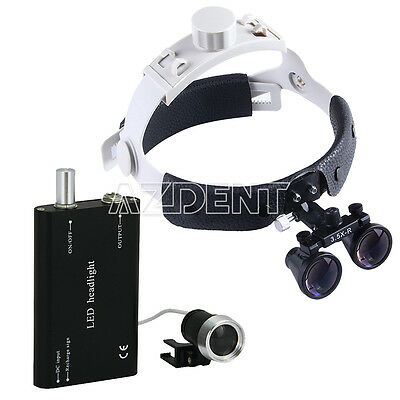 3.5x-r Dental Medical Binocular Loupes Optical Glass Black Led Head Light Sale