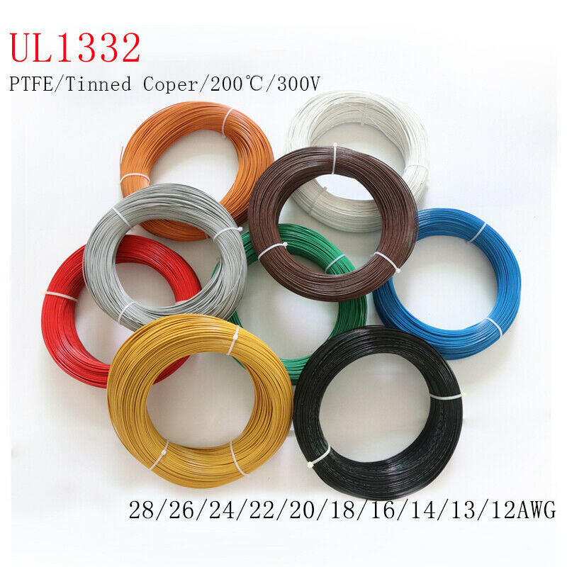 PTFE Cable Wire Flexible Tinned Copper Stranded 12 14 16 18 20 22 24 26 28 awg