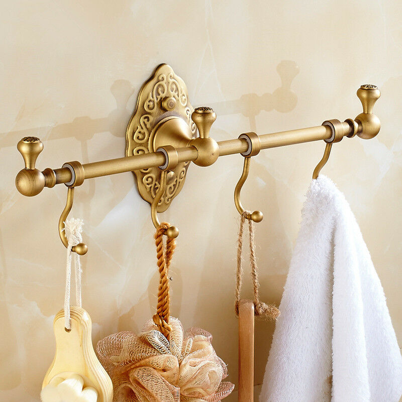 . Details about Luxury Towel Hooks Antique Brushed Brass Wall Mount Carved  Single Bath Towel Bar
