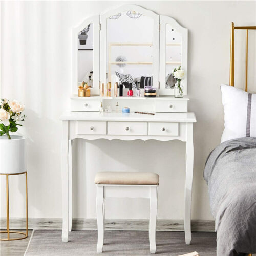 High Quality Dressing Table Makeup Vanity Set W/ Cushioned Stool Mirror 5 Drawer