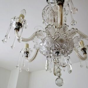 Antique c1920's Crystal Chandelier Six Arm
