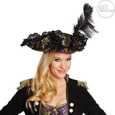 Piratenhut schwarz gold lila Hut Piratin mit Feder Kostüm Zubehör 129181613