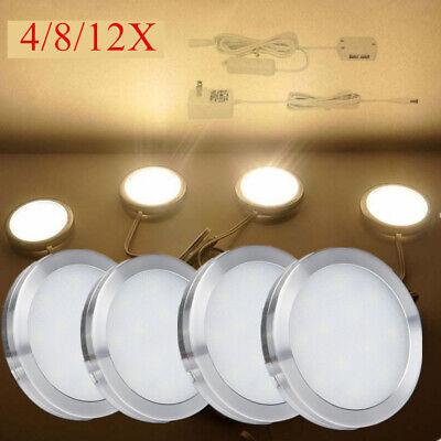 - 4 8 12PACK Round 12V Cabinet LED Light Furniture Wardrobe Counter Shelf Lamp