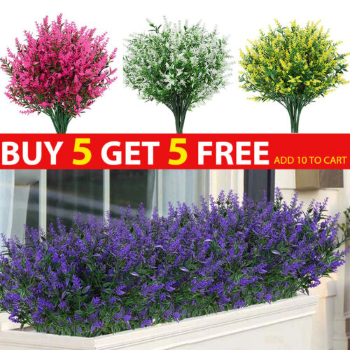 Home Decoration - Artificial Flowers Plastic Fake Plants UV Resistant Home In/Outdoor Garden Decor