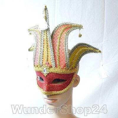 Karneval Fasching Kostüm Sexy Venezianische Maske Damen rot oder gold (Gold Kostüm Maske)