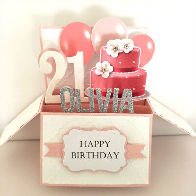 Handmade Name & age Personalized birthday card girlfriend, 21st birthday card,