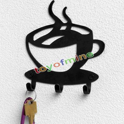 Home Decorative Coffee Wall Mount Metal 3 Hook Key Rack Hanger Organizer Decor