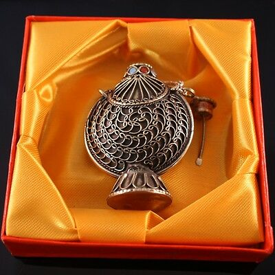Very Large Thick Tibetan Filigree Turquoise Red Coral Spoon Snuff Bottle Pendant