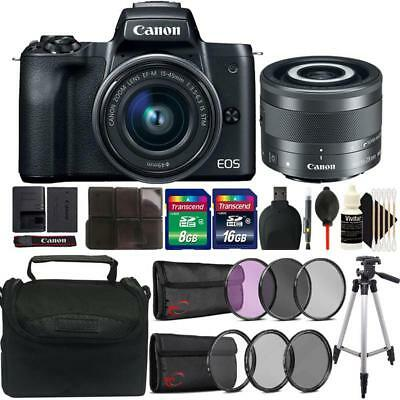 Canon EOS M50 Mirrorless Digital Camera + 15-45mm and 28mm IS STM Lens Kit Black