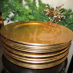 16 GOLD COLOURED CHARGER PLATES