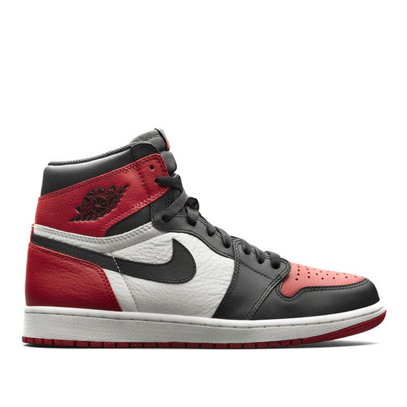 454befd6cdb ... Nike Air Jordan Retro I 1 High OG 2018 Bred Toe Gym Red Black White  575441 ...
