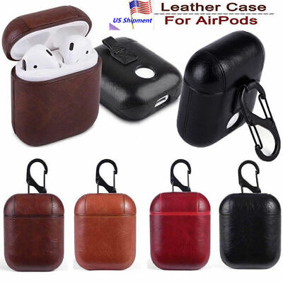 For Apple AirPods Charging Case Genuine Leather Coated Hard Portable Cover -