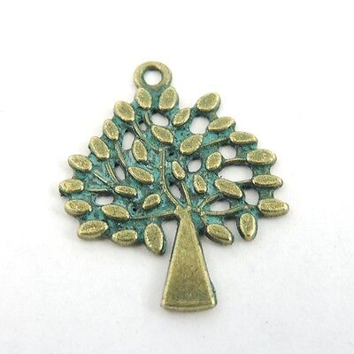 16PCS Antiqued Bronze Tone Alloy Patina Tree Pendant Charms 23*30*1mm 39217