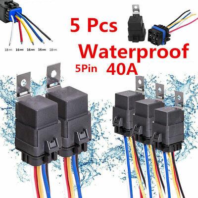 5pcs Car 12v 3040a Spdt Relay Socket Plug 5pin 5 Wire Waterproof Seal Iron Kit