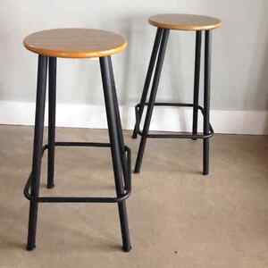 2 midcentury counter stools
