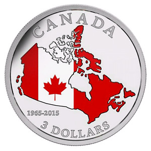 """2015 """"CANADIAN FLAG"""" SILVER COIN-50th ANNIVERSARY"""