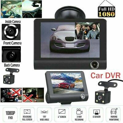 "1080P 4""Car DVR Dual Lens Dash Cam Front G-sensor Rear Video Recorder US Stock"