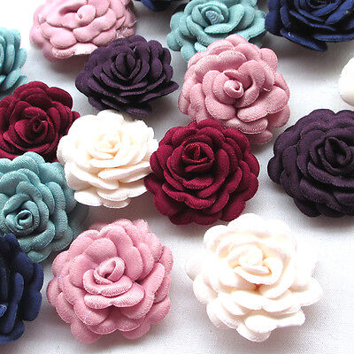 Upick 12/60PCS Felt Padded Ribbon Flowers Bows Peony Appliques Craft Mix