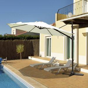 10' Hanging Patio Umbrella Outdoor Sunshade with cross base