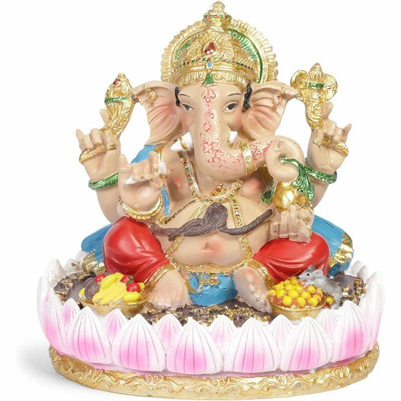 "7"" Ganesh Hindu Elephant Lord Statue Ganesha God of Success Resin Decor Figurine"