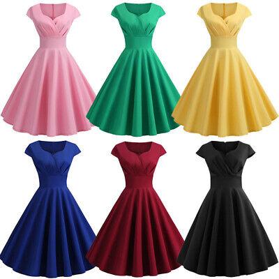 Women Rockabilly Petticoat V Neck Solid Color Retro Hepburn Party Dress Costume - Retro Party Costumes