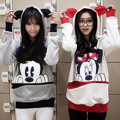 Damen Langarm Mickey Minnie Mouse Kapuzenpullover Sweatshirt Jumper Hooded Pulli