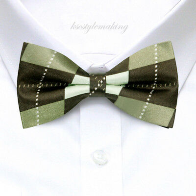 Brand New Blue and White Checked Fashion Tuxedo Adjustable Bow tie for Boys B724