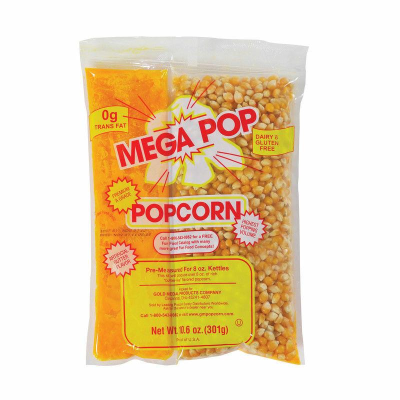 Mega-Pop Popcorn Kits for 8 Ounce Kettles 12 Kits Per Case